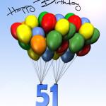 Bunte Geburtstagskarte mit Luftballons zum 51. Geburtstag