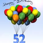 Bunte Geburtstagskarte mit Luftballons zum 52. Geburtstag