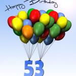 Bunte Geburtstagskarte mit Luftballons zum 53. Geburtstag