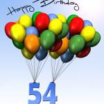 Bunte Geburtstagskarte mit Luftballons zum 54. Geburtstag