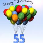 Bunte Geburtstagskarte mit Luftballons zum 55. Geburtstag