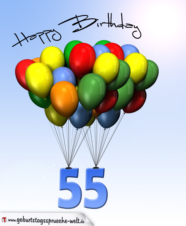 geburtstagskarte mit luftballons zum 55 geburtstag. Black Bedroom Furniture Sets. Home Design Ideas