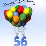 Bunte Geburtstagskarte mit Luftballons zum 56. Geburtstag