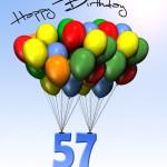 Bunte Geburtstagskarte mit Luftballons zum 57. Geburtstag