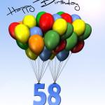 Bunte Geburtstagskarte mit Luftballons zum 58. Geburtstag