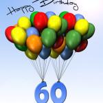 Bunte Geburtstagskarte mit Luftballons zum 60. Geburtstag