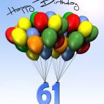 Bunte Geburtstagskarte mit Luftballons zum 61. Geburtstag