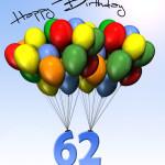 Bunte Geburtstagskarte mit Luftballons zum 62. Geburtstag