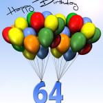 Bunte Geburtstagskarte mit Luftballons zum 64. Geburtstag
