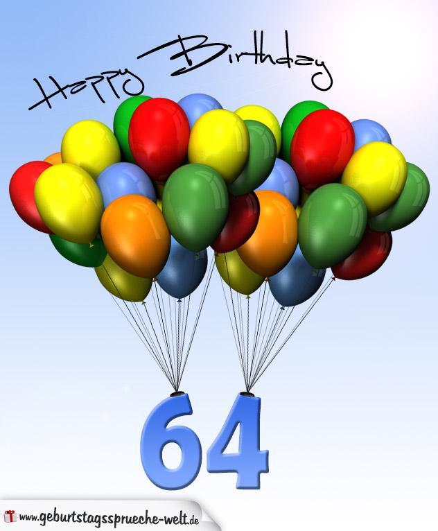 geburtstagskarte mit luftballons zum 64 geburtstag. Black Bedroom Furniture Sets. Home Design Ideas