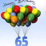 Bunte Geburtstagskarte mit Luftballons zum 65. Geburtstag