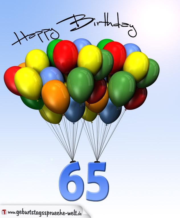 Geburtstagskarte mit Luftballons zum 65. Geburtstag - Geburtstagssprüche-Welt