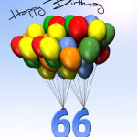 Bunte Geburtstagskarte mit Luftballons zum 66. Geburtstag