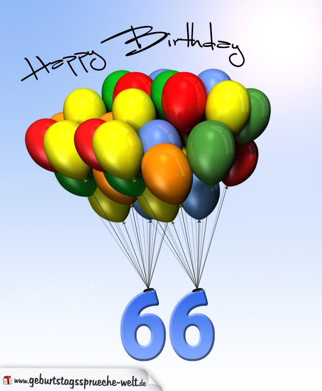 geburtstagskarte mit luftballons zum 66 geburtstag. Black Bedroom Furniture Sets. Home Design Ideas