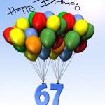 Bunte Geburtstagskarte mit Luftballons zum 67. Geburtstag