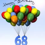 Bunte Geburtstagskarte mit Luftballons zum 68. Geburtstag