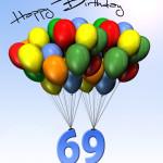 Bunte Geburtstagskarte mit Luftballons zum 69. Geburtstag