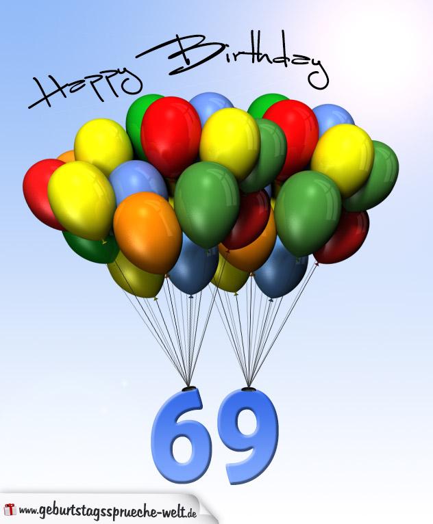 Geburtstagskarte Mit Luftballons Zum 69. Geburtstag