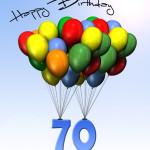 Bunte Geburtstagskarte mit Luftballons zum 70. Geburtstag