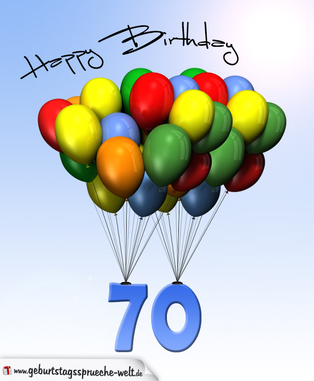 geburtstagskarte mit luftballons zum 70 geburtstag geburtstagsspr che welt. Black Bedroom Furniture Sets. Home Design Ideas