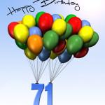 Bunte Geburtstagskarte mit Luftballons zum 71. Geburtstag