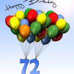 Bunte Geburtstagskarte mit Luftballons zum 72. Geburtstag