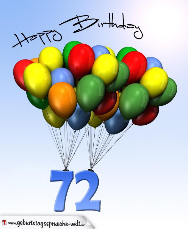 geburtstagskarte mit luftballons zum 72 geburtstag geburtstagsspr che welt. Black Bedroom Furniture Sets. Home Design Ideas