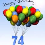 Bunte Geburtstagskarte mit Luftballons zum 74. Geburtstag