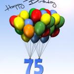 Bunte Geburtstagskarte mit Luftballons zum 75. Geburtstag