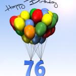 Bunte Geburtstagskarte mit Luftballons zum 76. Geburtstag