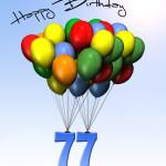 Bunte Geburtstagskarte mit Luftballons zum 77. Geburtstag
