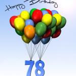 Bunte Geburtstagskarte mit Luftballons zum 78. Geburtstag