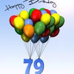 Bunte Geburtstagskarte mit Luftballons zum 79. Geburtstag