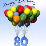 Bunte Geburtstagskarte mit Luftballons zum 80. Geburtstag