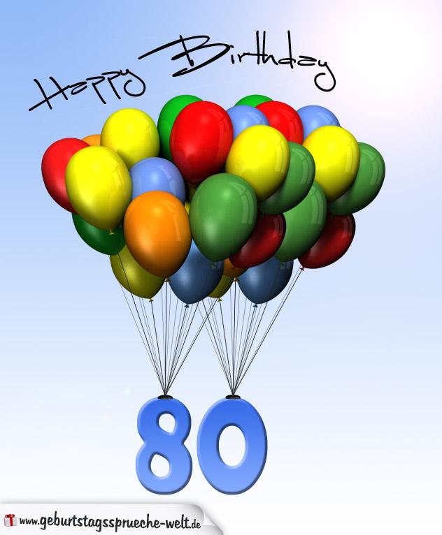 geburtstagskarte mit luftballons zum 80 geburtstag. Black Bedroom Furniture Sets. Home Design Ideas