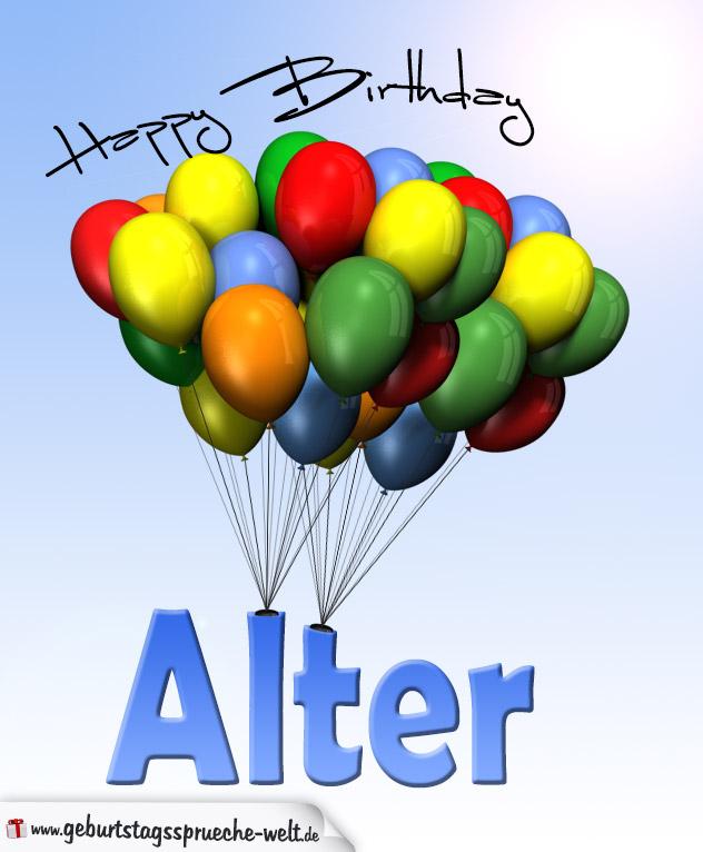 Geburtstagskarte mit Luftballons zum Geburtstag