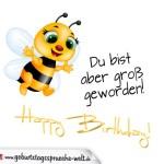 Schöne Geburtstagskarte mit fliegender Biene