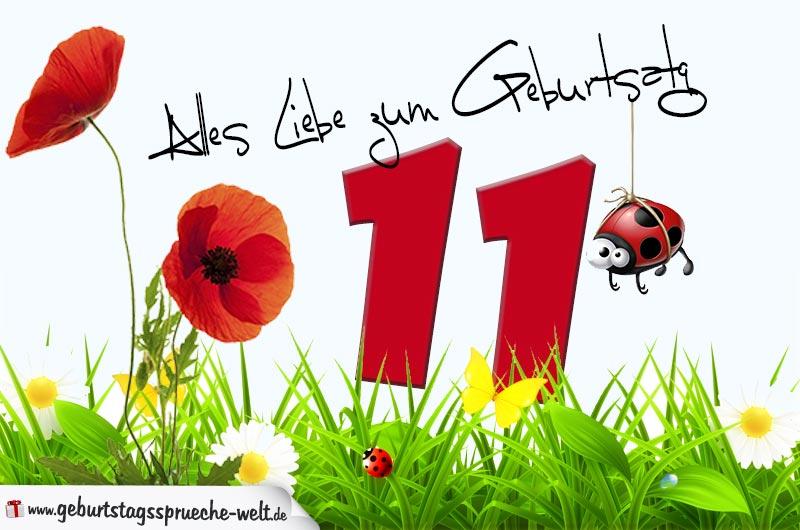 Geburtstagskarte mit Blumenwiese zum 11. Geburtstag