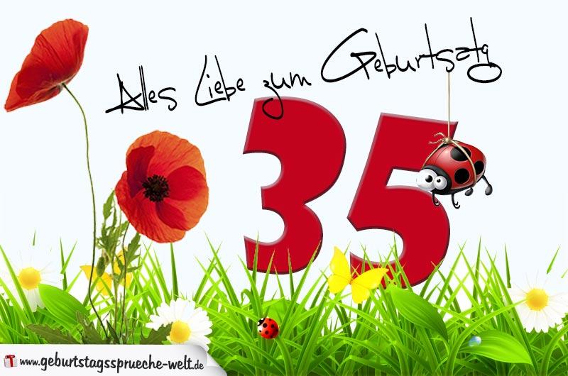 Geburtstagskarte mit Blumenwiese zum 35. Geburtstag - Geburtstagssprüche-Welt