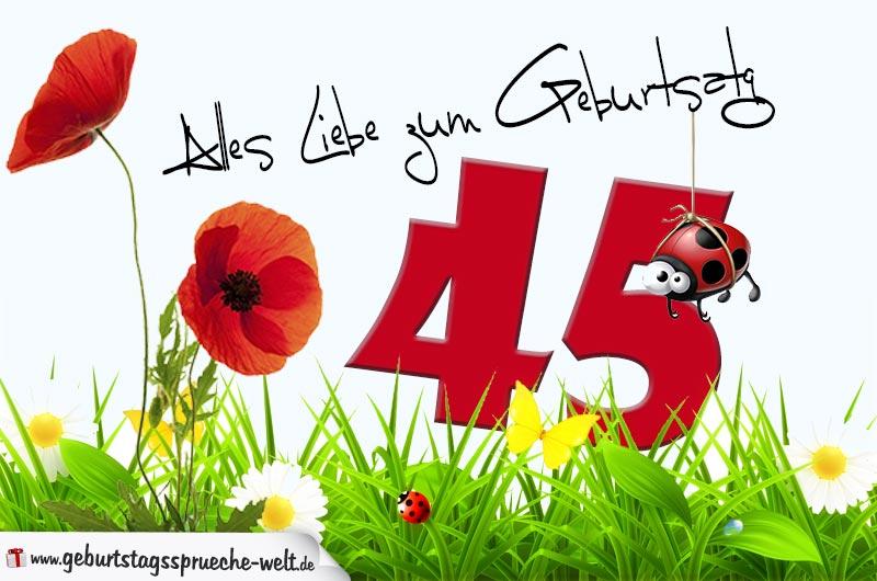 Geburtstagskarte mit Blumenwiese zum 45. Geburtstag