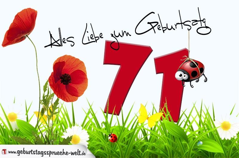 Geburtstagskarte mit Blumenwiese zum 71. Geburtstag