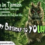 Coole Geburtstagskarte aus dem Tierreich mal ganz anders mit Eule und Uhu