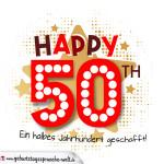 Schwarz Rote Geburtstagskarte zum 50. Geburtstag