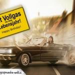 """Geburtstagskarte """"Mit Vollgas ins neue Lebensjahr!"""""""