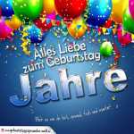 Individuelle Geburtstagskarte mit bunten Ballons Konfetti und Luftschlangen