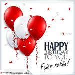 Happy Birthday Geburtstagskarte mit roten und weißen Luftballons