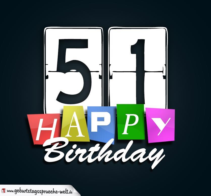 51. Geburtstag Happy Birthday Geburtstagskarte