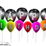 Geburstagskarte Happy Birthday mit Jahreszahl und bunten Ballons