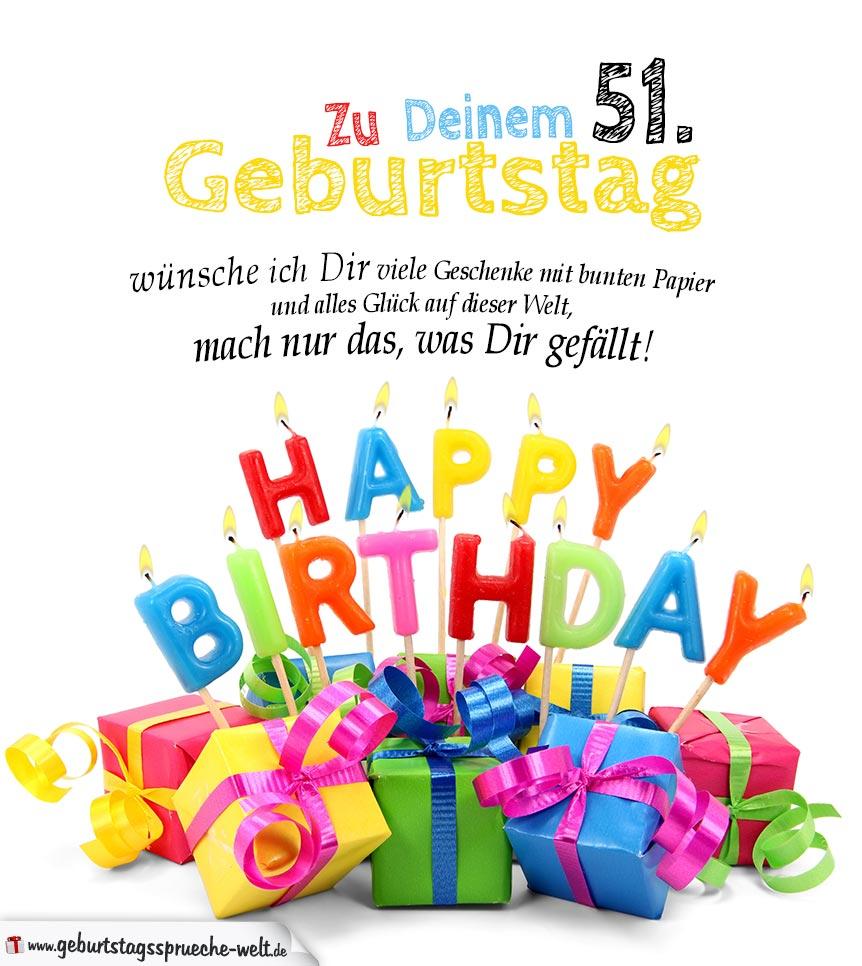 Geburtstagskarten zum Ausdrucken 51. Geburtstag