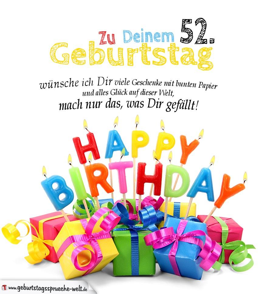 Geburtstagskarten Zum Ausdrucken 52 Geburtstag